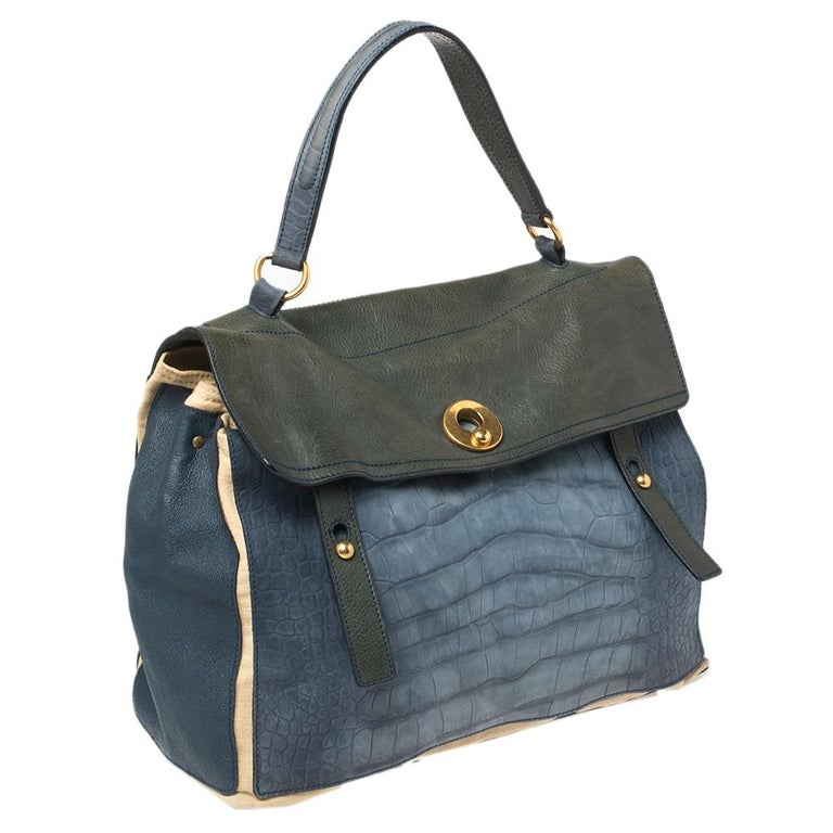 Gray Yves Saint Laurent Croc Embossed Leather and Canvas Large Two Top Handle Bag For Sale