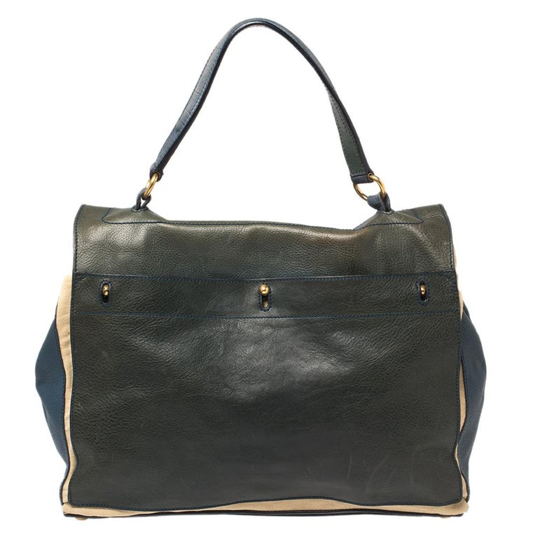 Yves Saint Laurent Croc Embossed Leather and Canvas Large Two Top Handle Bag In Good Condition For Sale In Dubai, Al Qouz 2