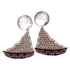 Yves Saint Laurent Crystal Sailboat Earrings Rare Collectors YSL, 1988