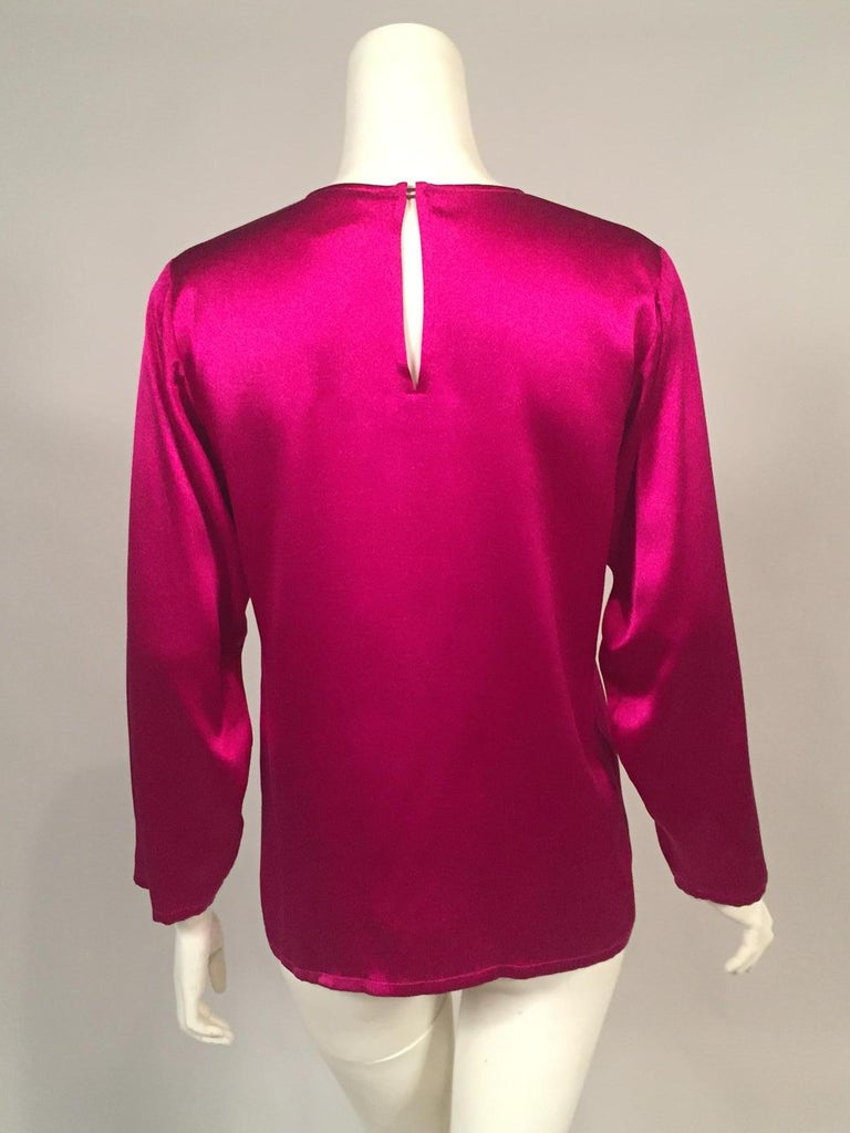 Yves Saint Laurent Cyclamen Pink Silk Charmeuse Blouse In Excellent Condition For Sale In New Hope, PA