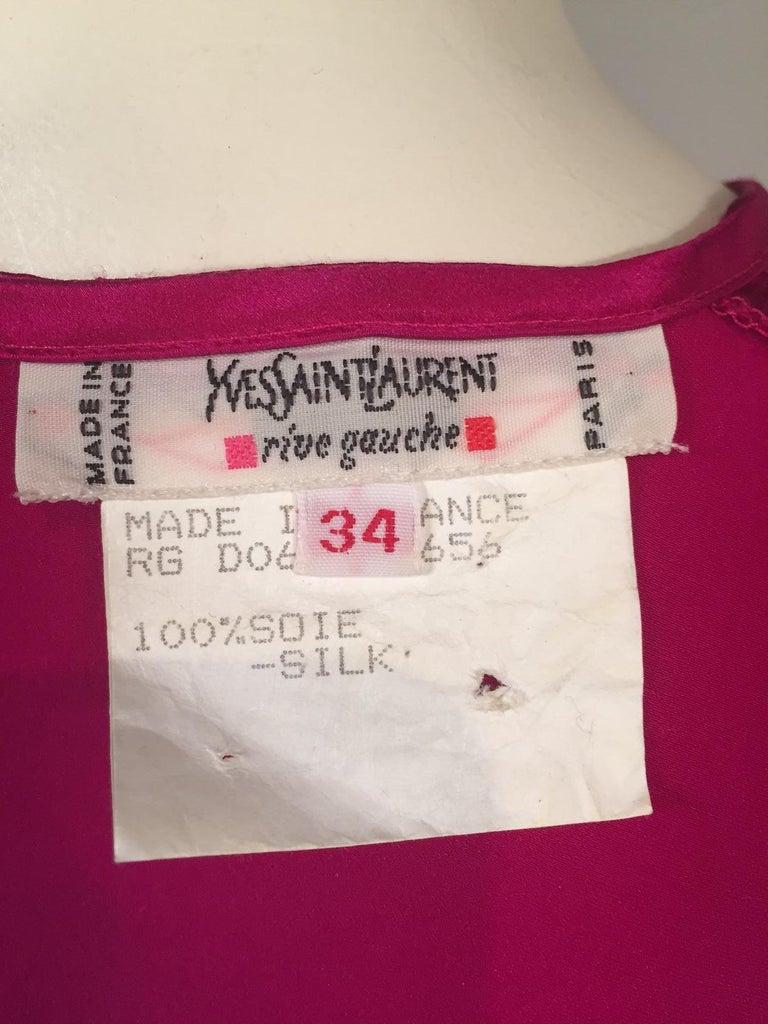 Yves Saint Laurent Cyclamen Pink Silk Charmeuse Blouse For Sale 1