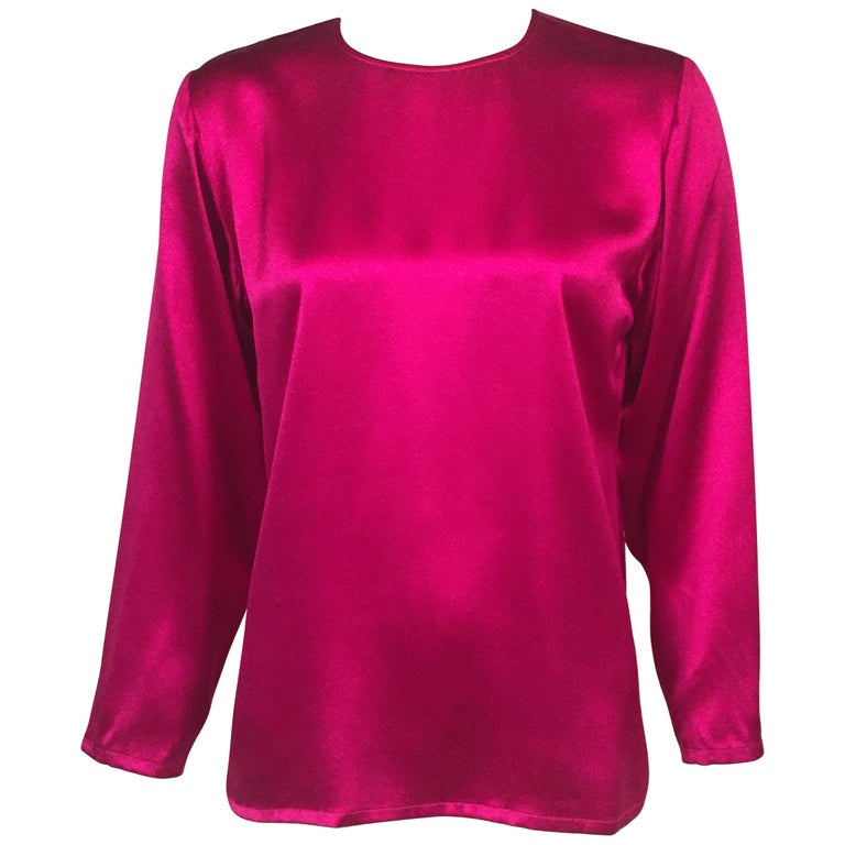 c7a8ceac0037 Yves Saint Laurent Cyclamen Pink Silk Charmeuse Blouse For Sale at ...