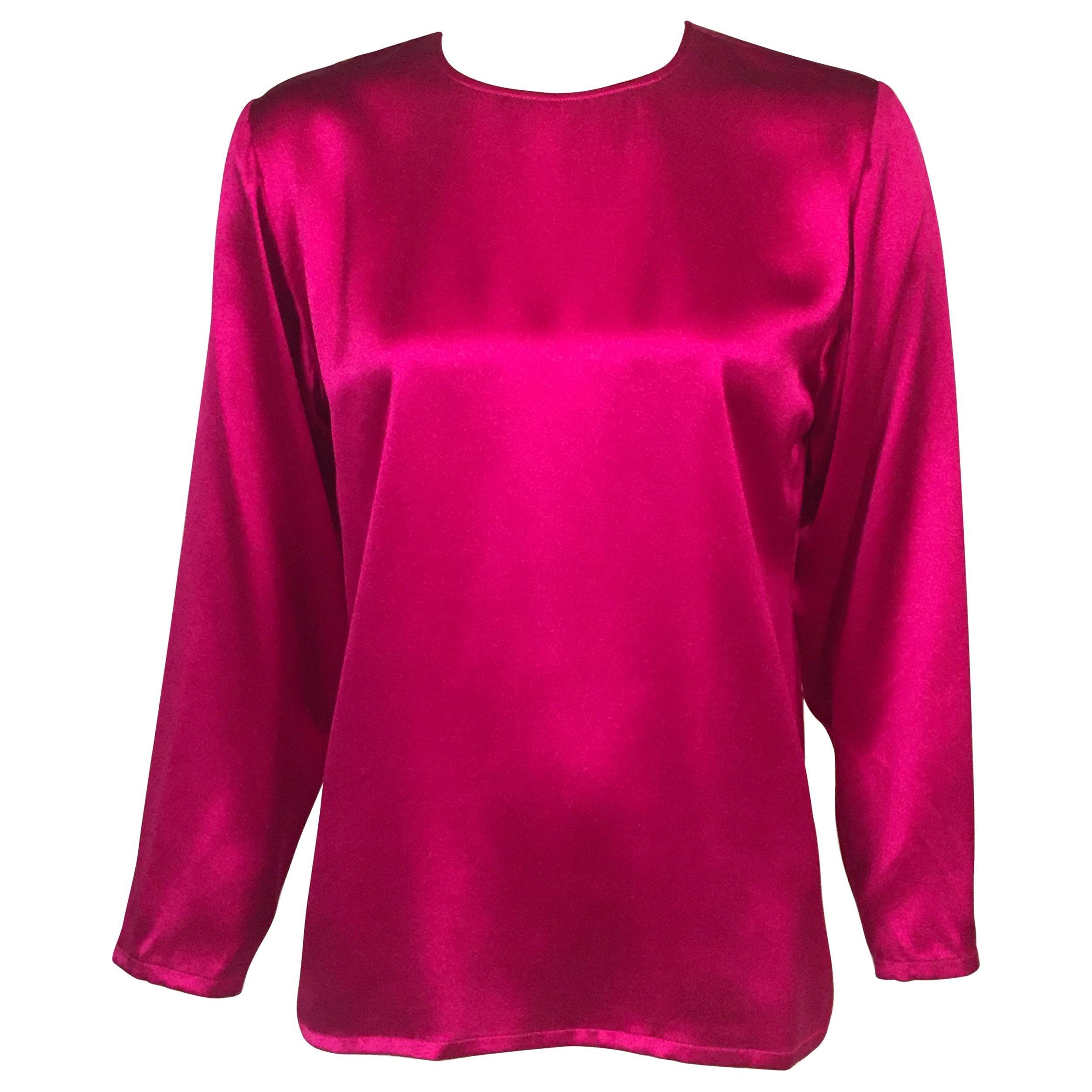 Yves Saint Laurent Cyclamen Pink Silk Charmeuse Blouse