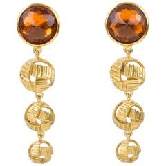 Yves Saint Laurent Dangle Clip Earrings Orange Crystal Cabochon