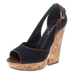 Yves Saint Laurent Dark Blue Canvas Deauville Cork Wedge Sandals Size 36