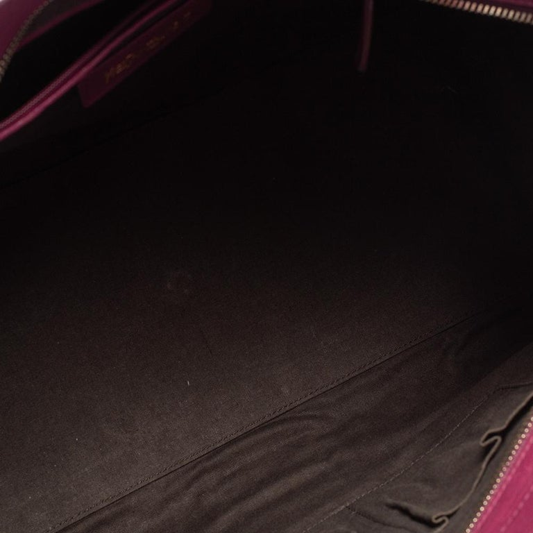 Yves Saint Laurent Dark Fuchsia Leather Medium Cabas Y-Ligne Tote For Sale 5