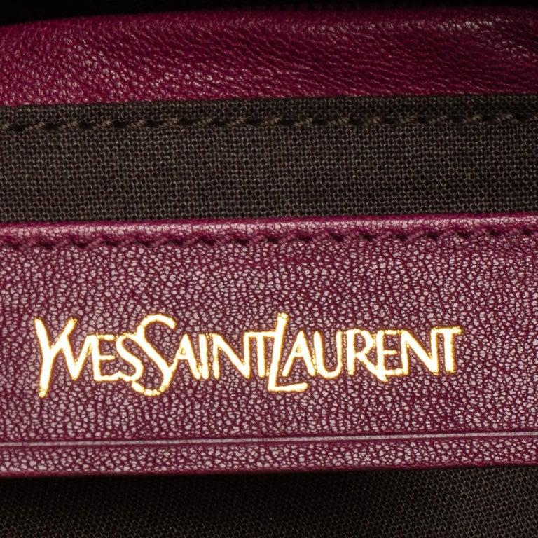 Women's Yves Saint Laurent Dark Fuchsia Leather Medium Cabas Y-Ligne Tote For Sale
