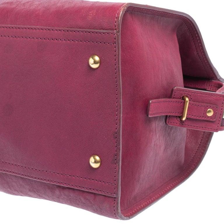 Yves Saint Laurent Dark Fuchsia Leather Medium Cabas Y-Ligne Tote For Sale 3