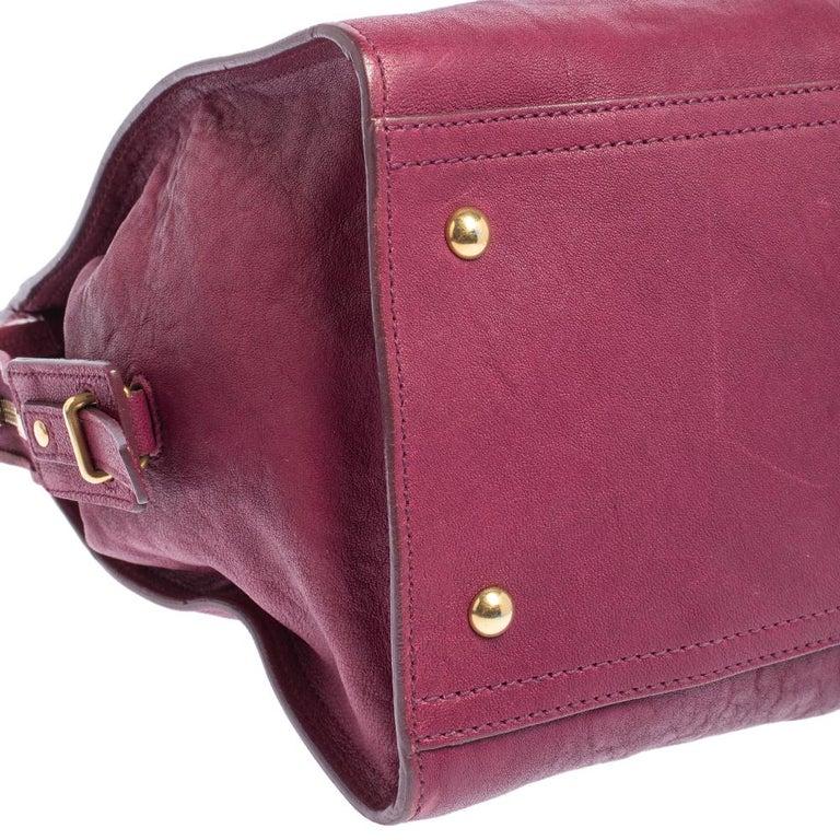 Yves Saint Laurent Dark Fuchsia Leather Medium Cabas Y-Ligne Tote For Sale 4
