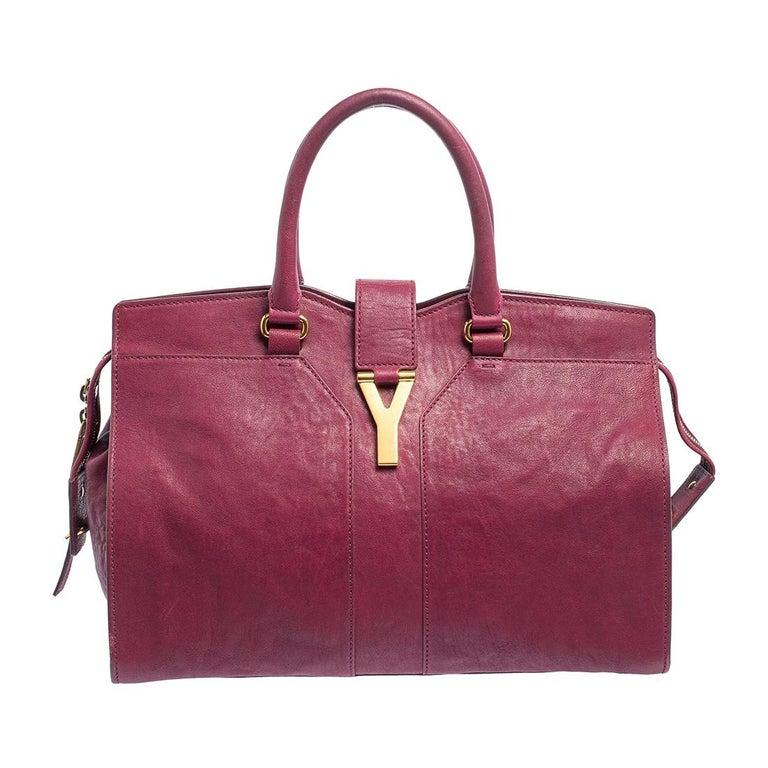 Yves Saint Laurent Dark Fuchsia Leather Medium Cabas Y-Ligne Tote For Sale