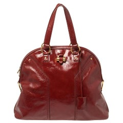Yves Saint Laurent Dark Red Patent Leather Large Muse Satchel