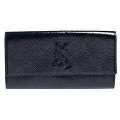 Yves Saint Laurent Dark Teal Patent Leather Belle De Jour Flap Clutch