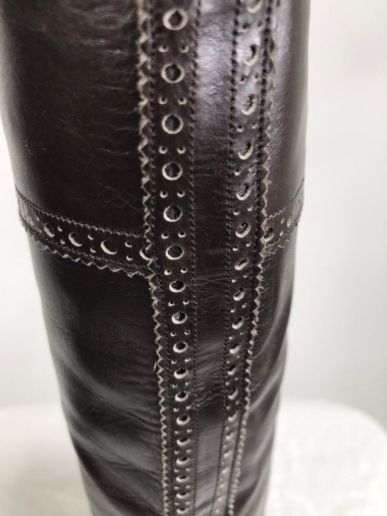 Yves Saint Laurent Decorated Dark Brown Leather High Heel Boots Vintage 1970s 5