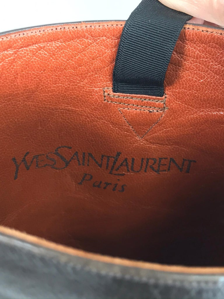 Yves Saint Laurent Decorated Dark Brown Leather High Heel Boots Vintage 1970s 7
