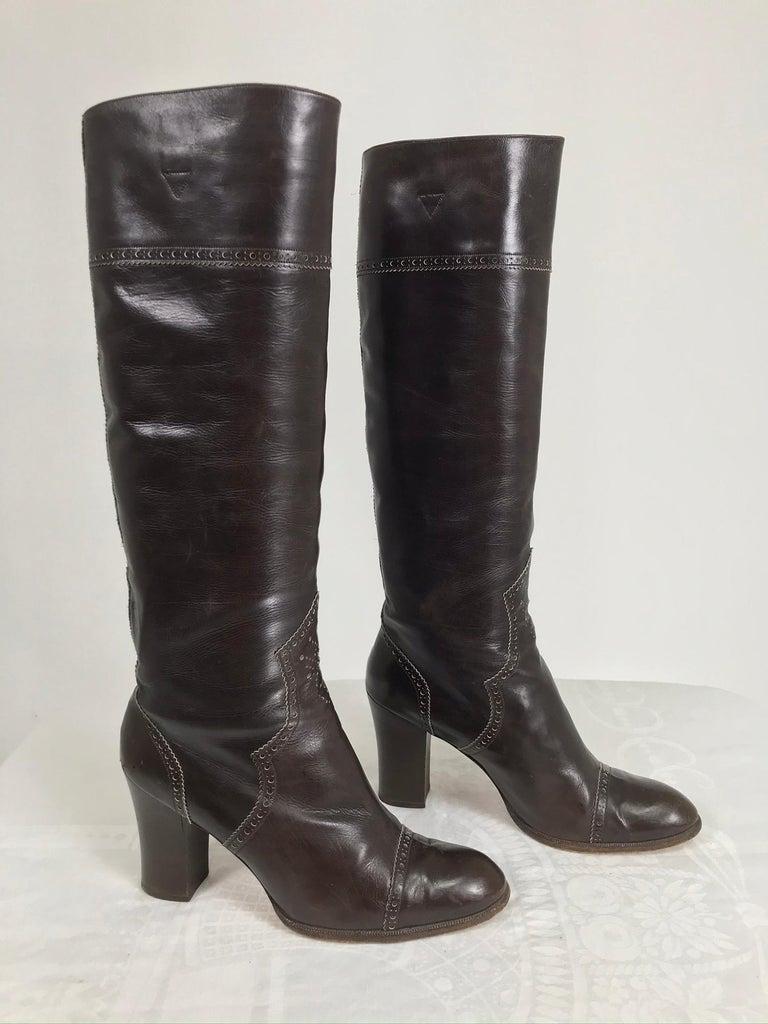 Black Yves Saint Laurent Decorated Dark Brown Leather High Heel Boots Vintage 1970s