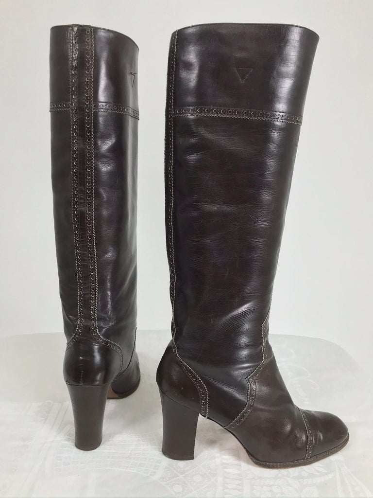 Yves Saint Laurent Decorated Dark Brown Leather High Heel Boots Vintage 1970s In Good Condition In West Palm Beach, FL