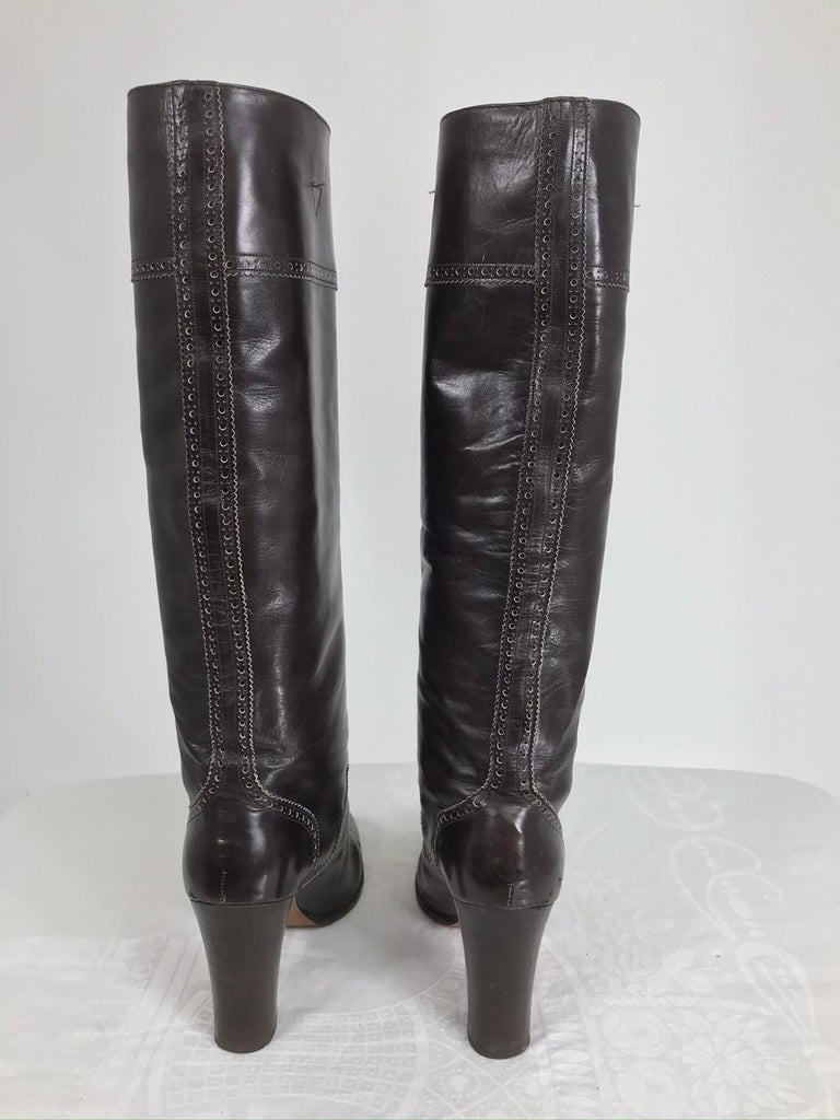 Women's Yves Saint Laurent Decorated Dark Brown Leather High Heel Boots Vintage 1970s