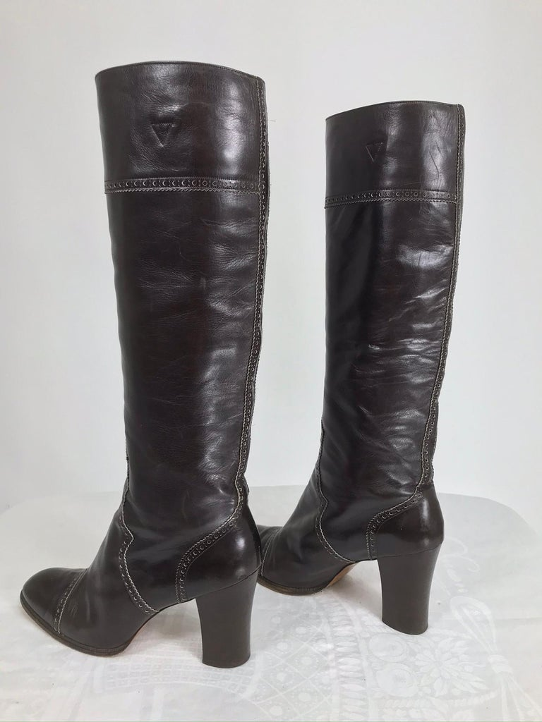 Yves Saint Laurent Decorated Dark Brown Leather High Heel Boots Vintage 1970s 1