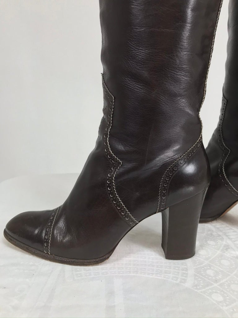 Yves Saint Laurent Decorated Dark Brown Leather High Heel Boots Vintage 1970s 2