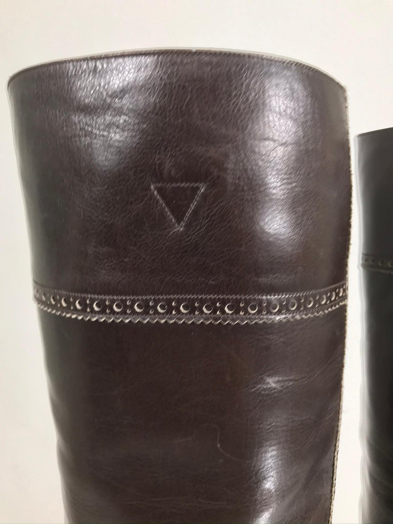 Yves Saint Laurent Decorated Dark Brown Leather High Heel Boots Vintage 1970s 3