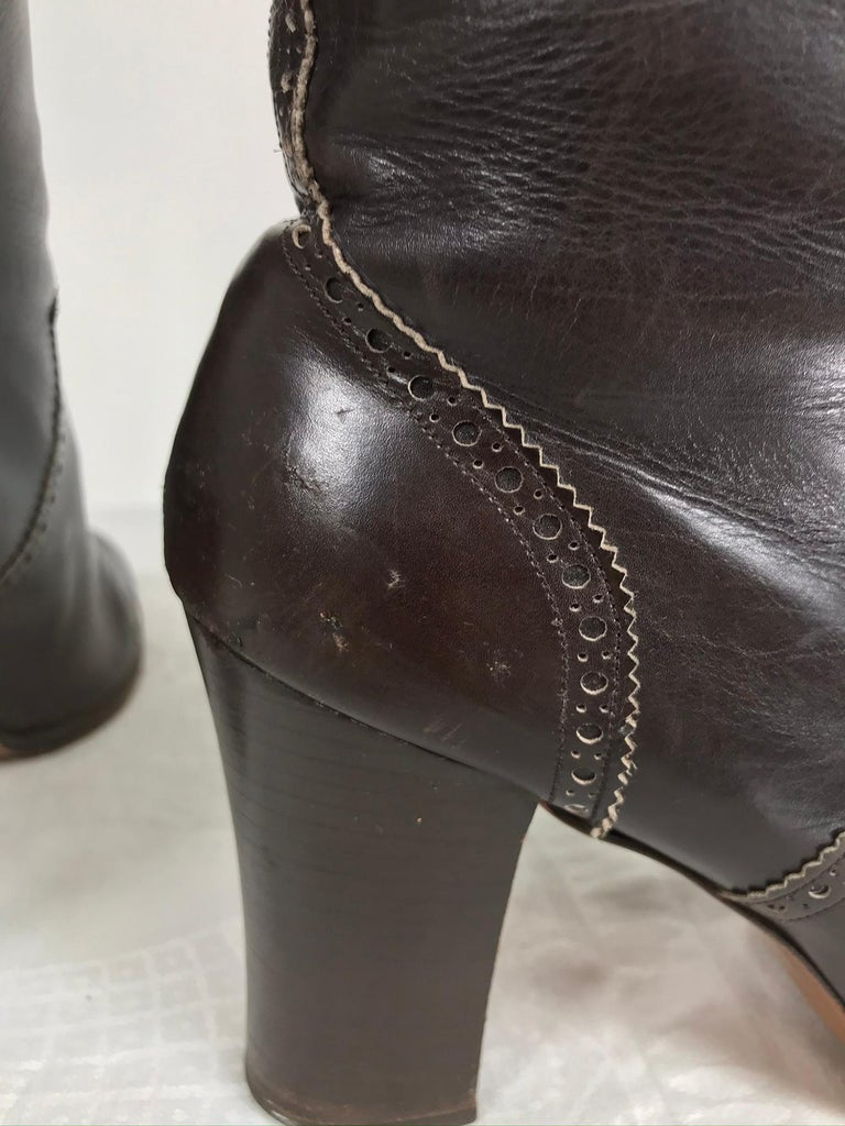 Yves Saint Laurent Decorated Dark Brown Leather High Heel Boots Vintage 1970s 4