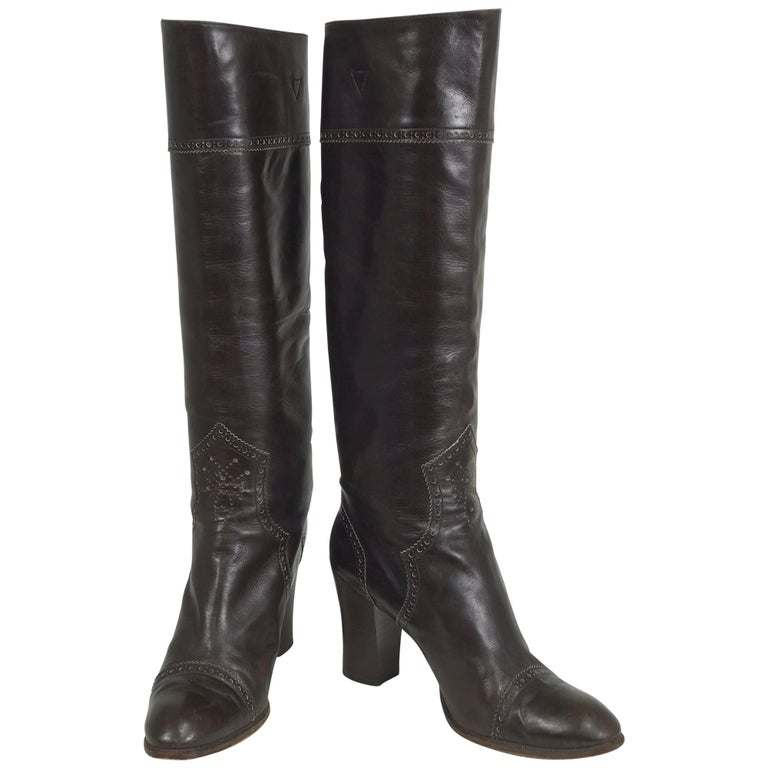 Yves Saint Laurent Decorated Dark Brown Leather High Heel Boots Vintage 1970s