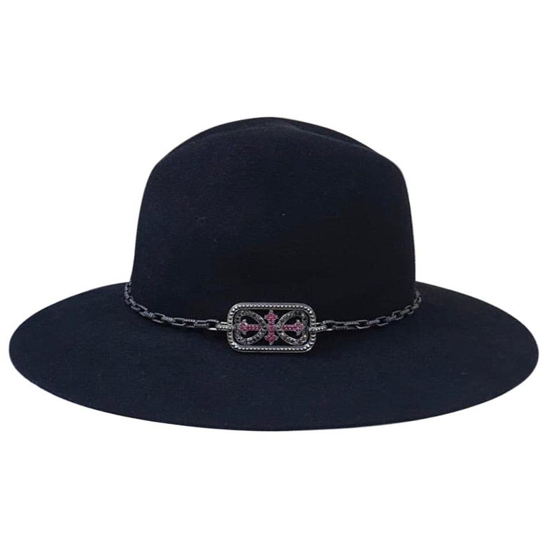 Yves Saint Laurent Diamonds Sapphires Felt Hat For Sale