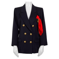 Yves Saint Laurent double breasted blazer attached logo brooch and handkerchief