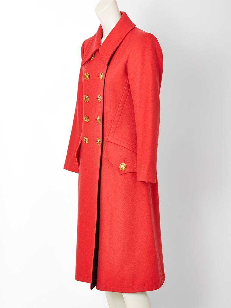 Red Yves Saint Laurent Double Breasted Coat  For Sale