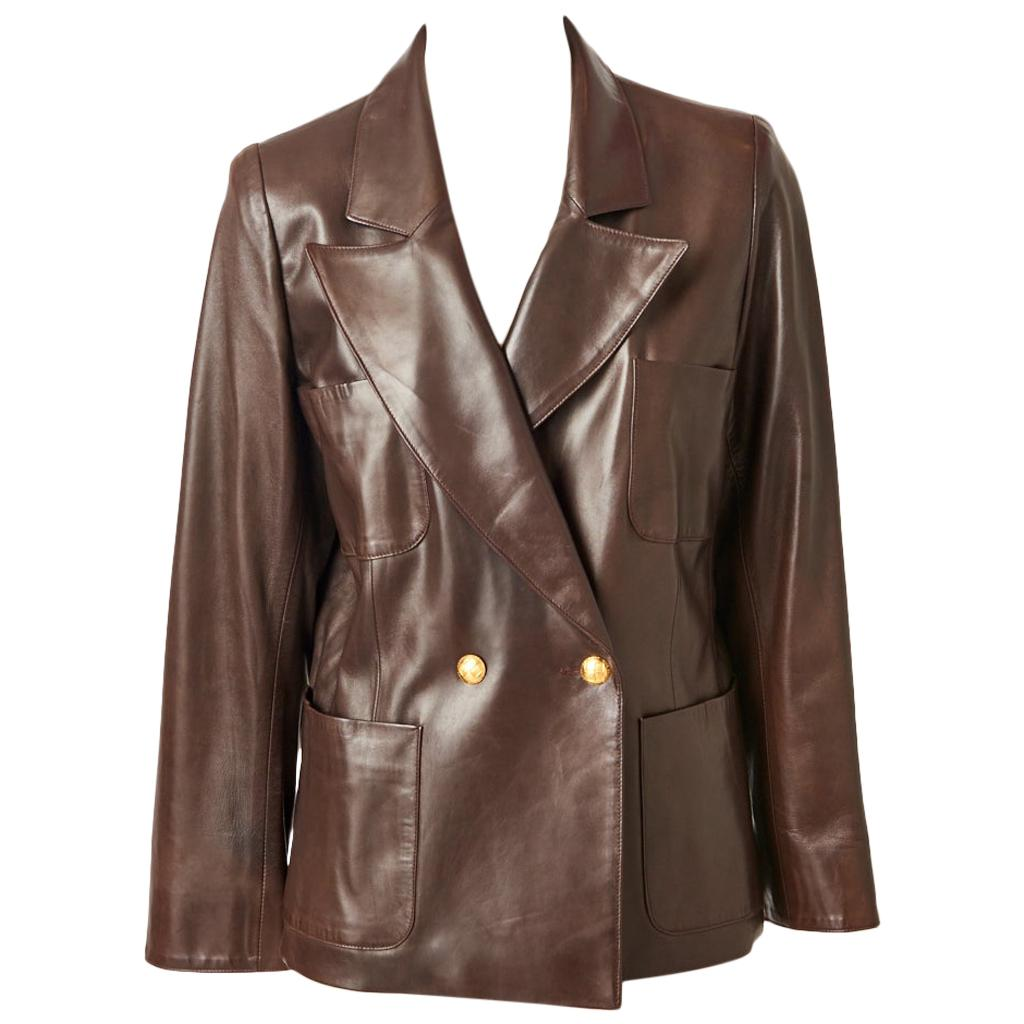 Yves Saint Laurent Double Breasted Leather Blazer