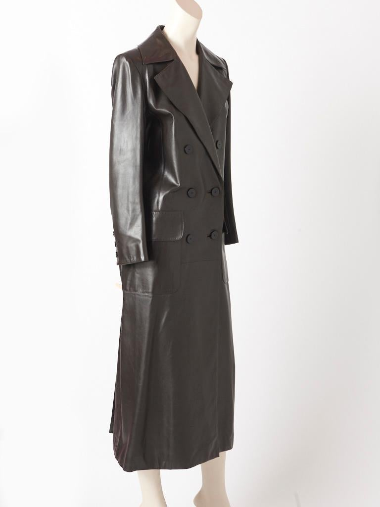 Black Yves Saint Laurent Double Breasted Leather Coat For Sale