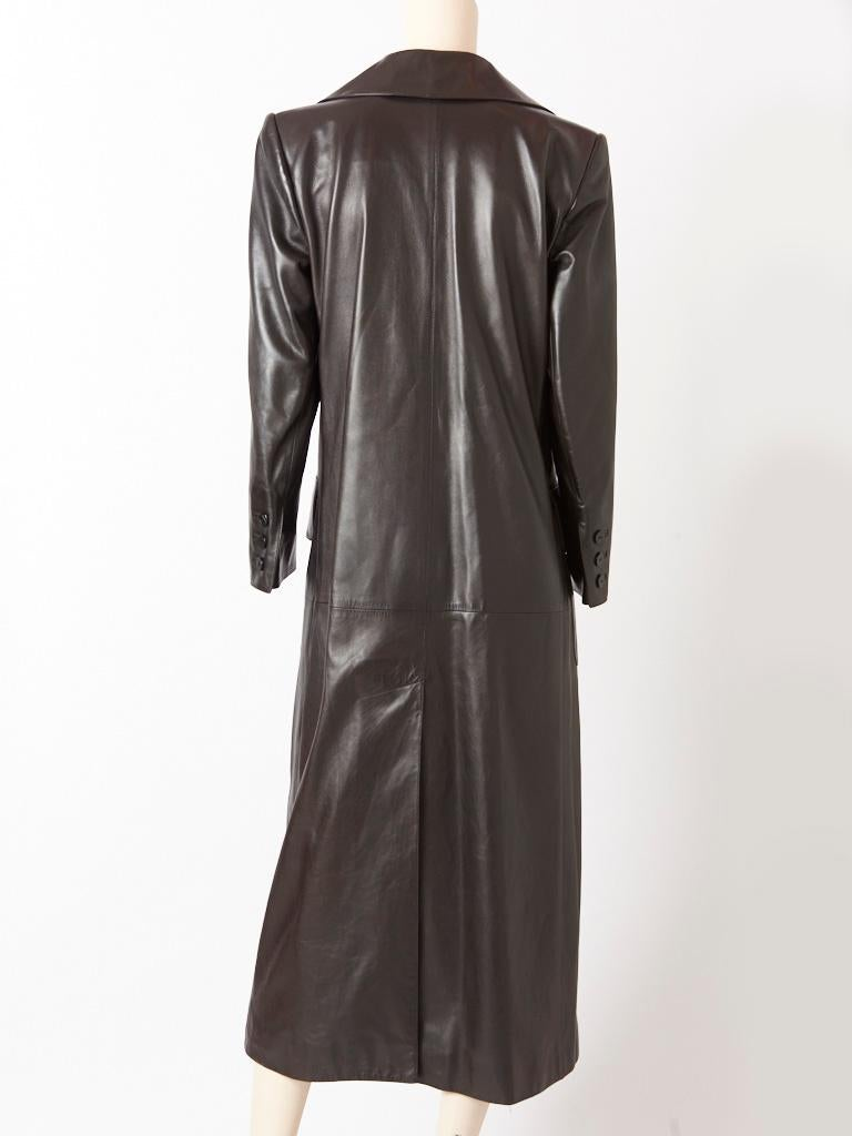 Yves Saint Laurent Double Breasted Leather Coat In Good Condition For Sale In New York, NY