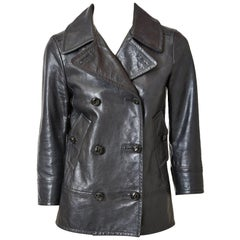 Yves Saint Laurent Double Breasted Leather Pea Jacket