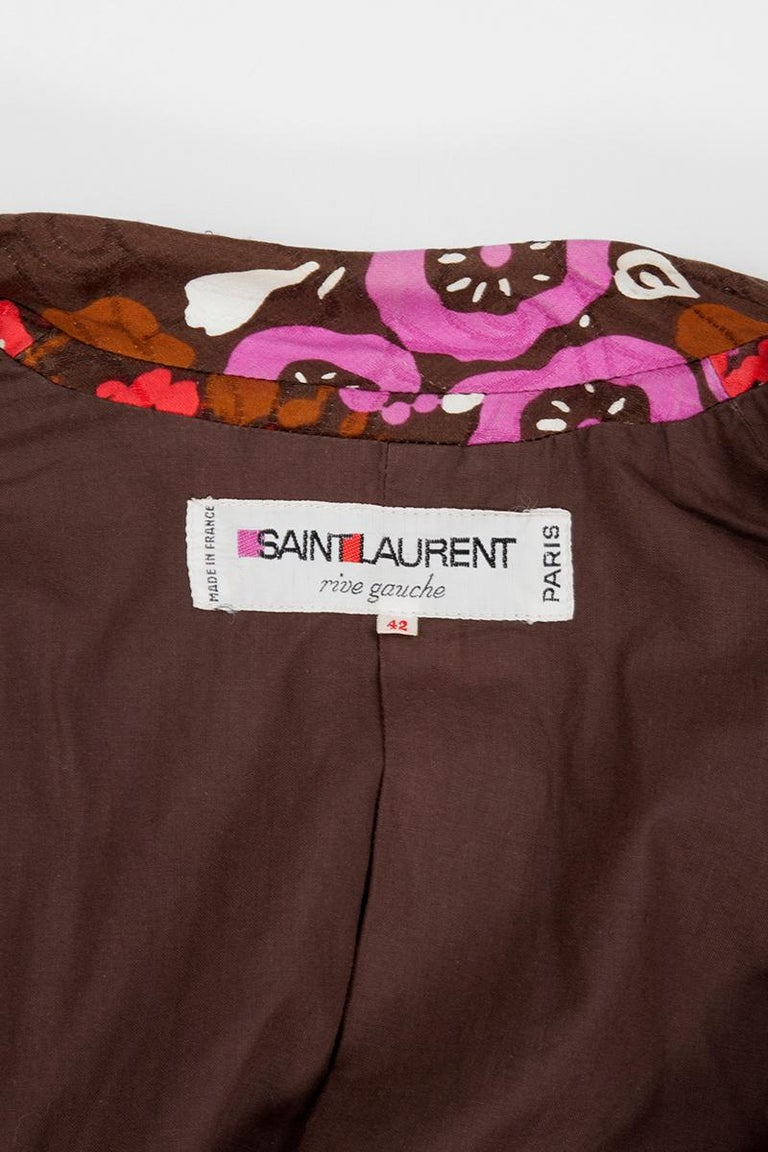 Yves Saint Laurent Double-Breasted Printed Blazer Jacket For Sale 6