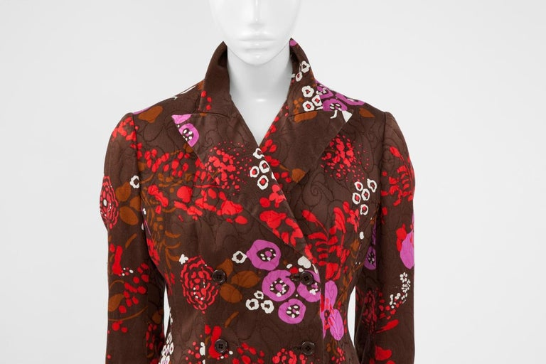Yves Saint Laurent Double-Breasted Printed Blazer Jacket In Good Condition For Sale In Geneva, CH