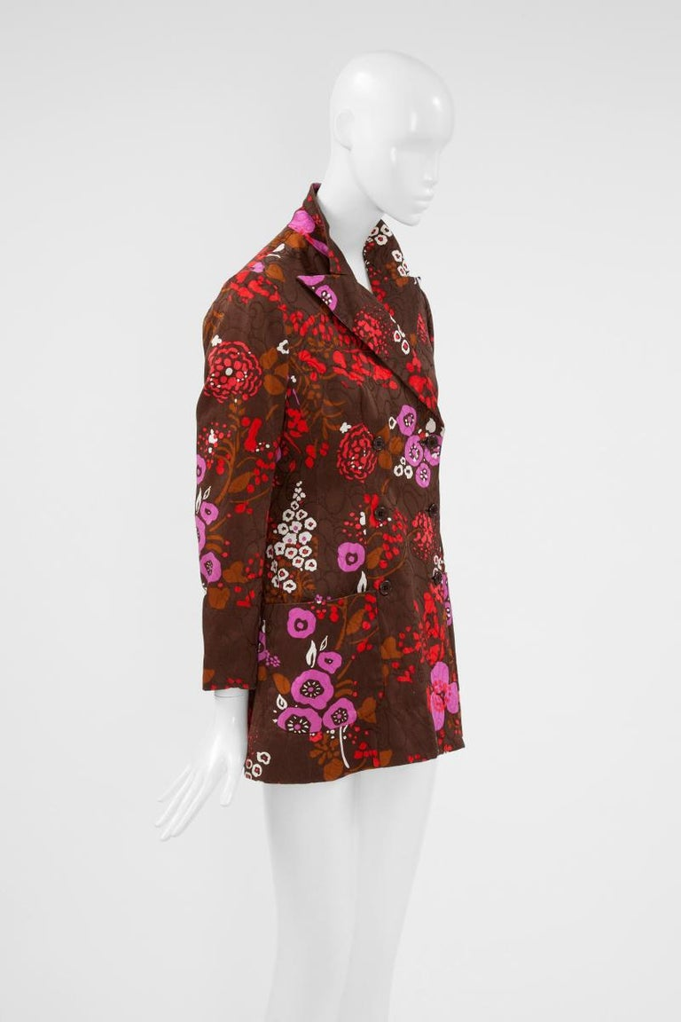 Yves Saint Laurent Double-Breasted Printed Blazer Jacket For Sale 1