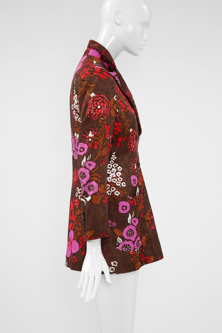 Yves Saint Laurent Double-Breasted Printed Blazer Jacket For Sale 3
