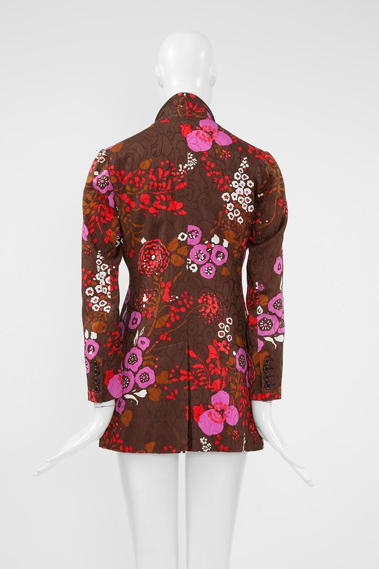 Yves Saint Laurent Double-Breasted Printed Blazer Jacket For Sale 4