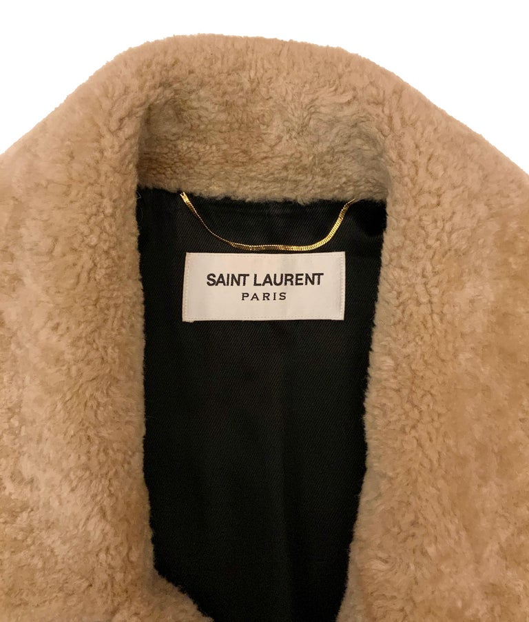Brown Yves Saint Laurent Double-breasted Shearling Coat For Sale