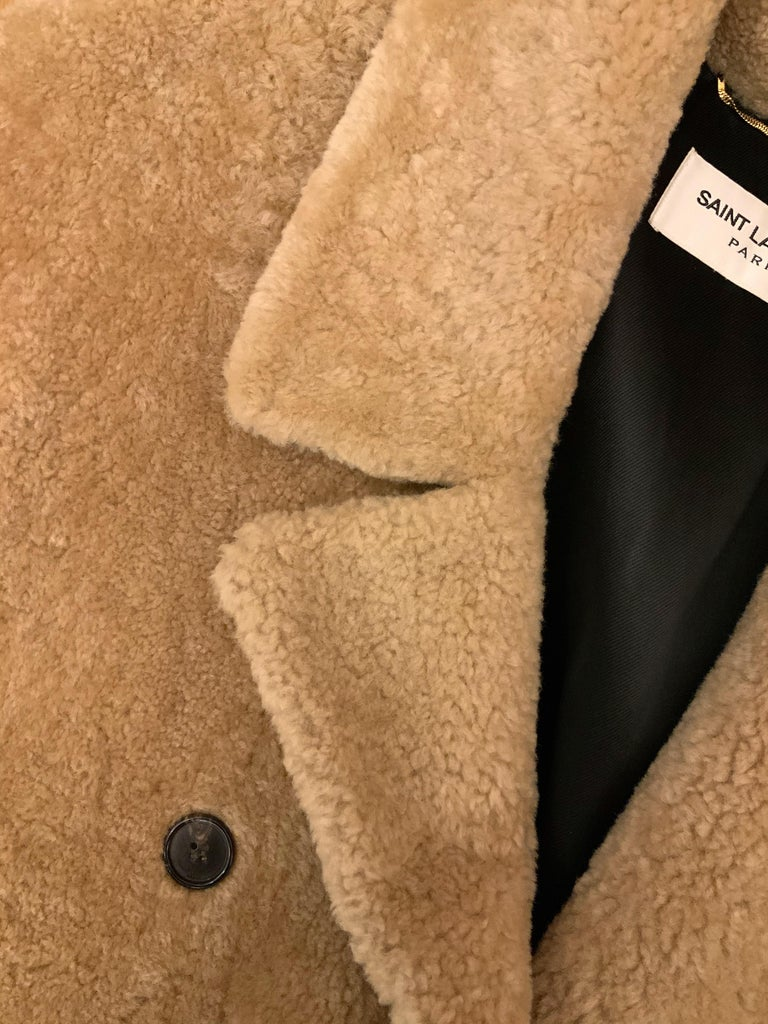 Yves Saint Laurent Double-breasted Shearling Coat In Excellent Condition For Sale In Geneva, CH