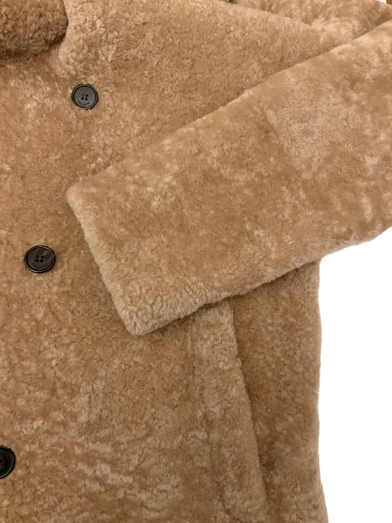 Women's or Men's Yves Saint Laurent Double-breasted Shearling Coat For Sale