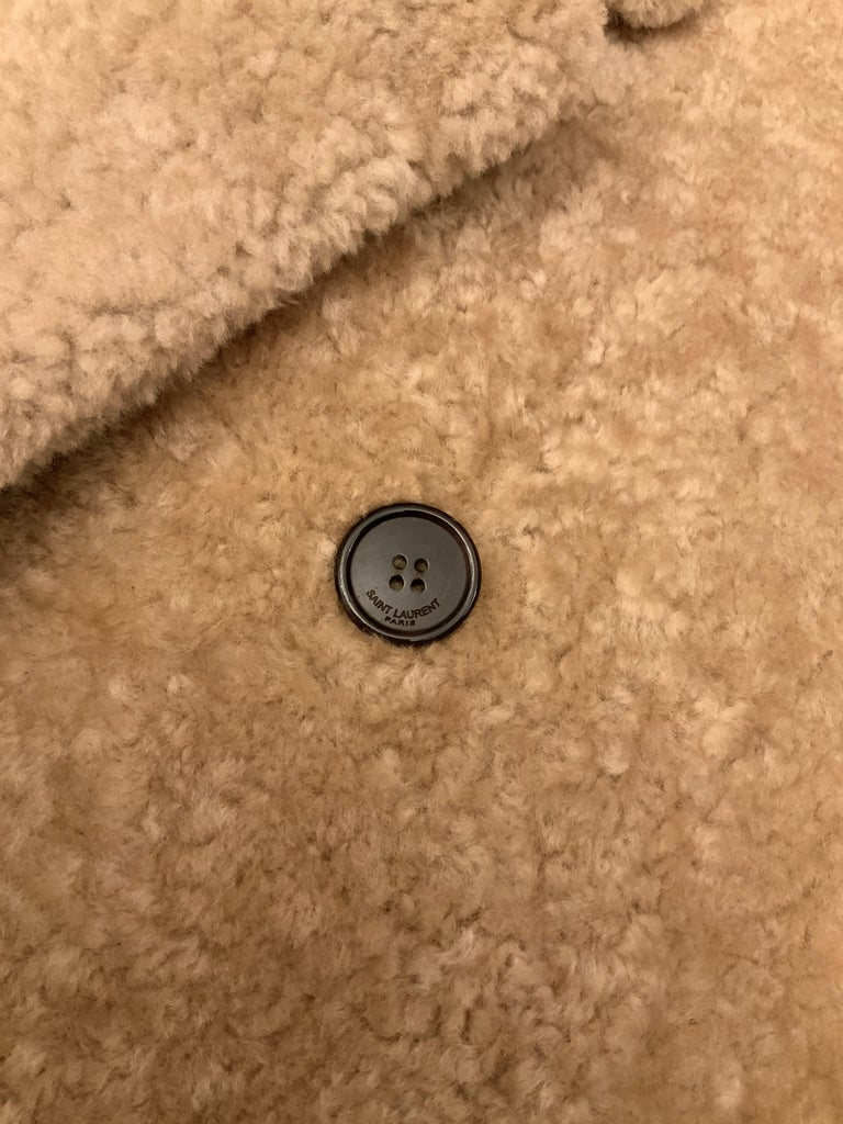 Yves Saint Laurent Double-breasted Shearling Coat For Sale 1