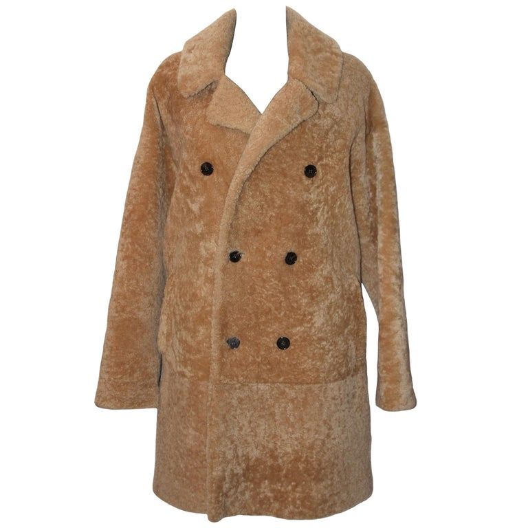 Yves Saint Laurent Double-breasted Shearling Coat For Sale