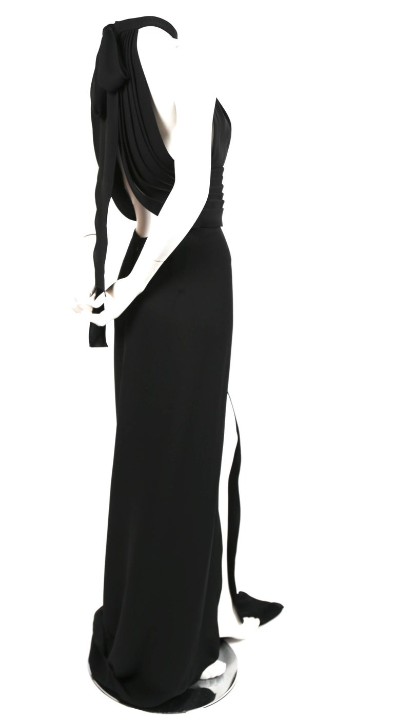 Black YVES SAINT LAURENT edition soir black silk evening gown with draped back For Sale