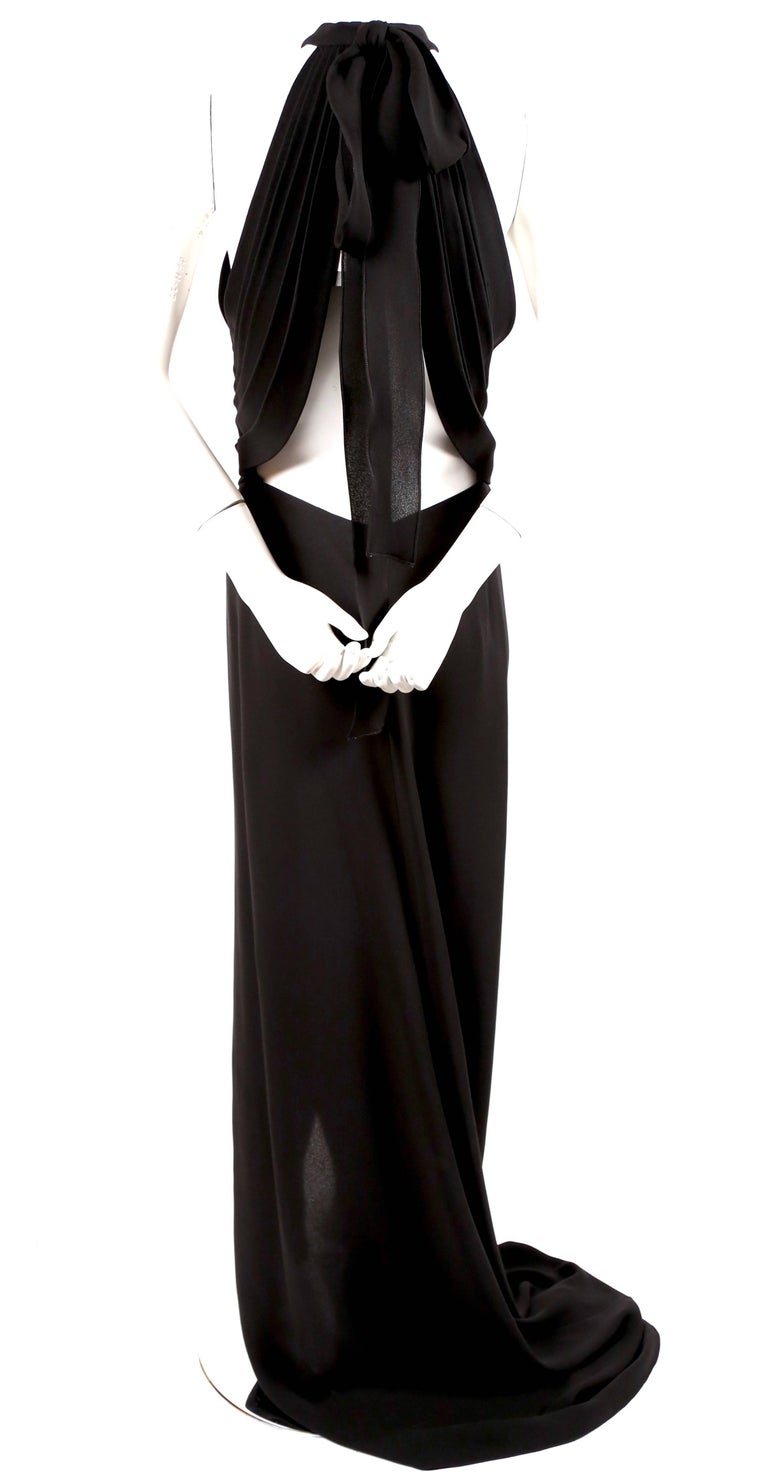 YVES SAINT LAURENT edition soir black silk evening gown with draped back In New Condition For Sale In San Fransisco, CA