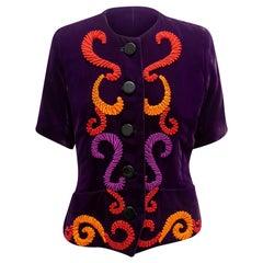 Yves Saint Laurent Eggplant & Multicolor Velvet Short Sleeve Jacket