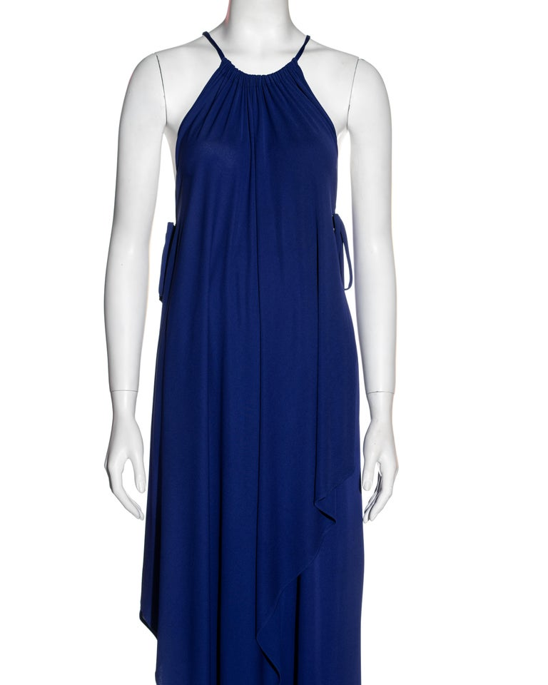 Blue Yves Saint Laurent Egyptian blue rayon tunic and skirt set, c. 1970s For Sale