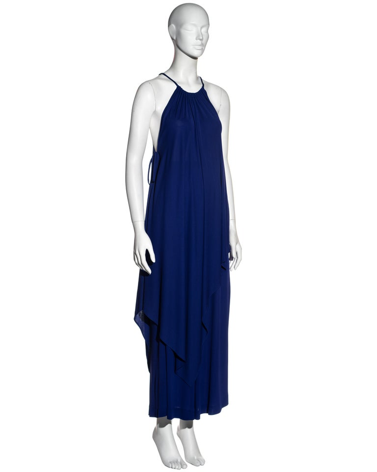 Yves Saint Laurent Egyptian blue rayon tunic and skirt set, c. 1970s In Excellent Condition For Sale In London, GB
