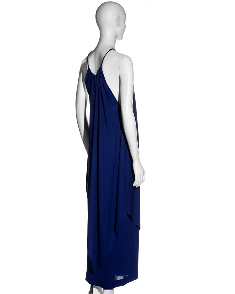 Women's Yves Saint Laurent Egyptian blue rayon tunic and skirt set, c. 1970s For Sale