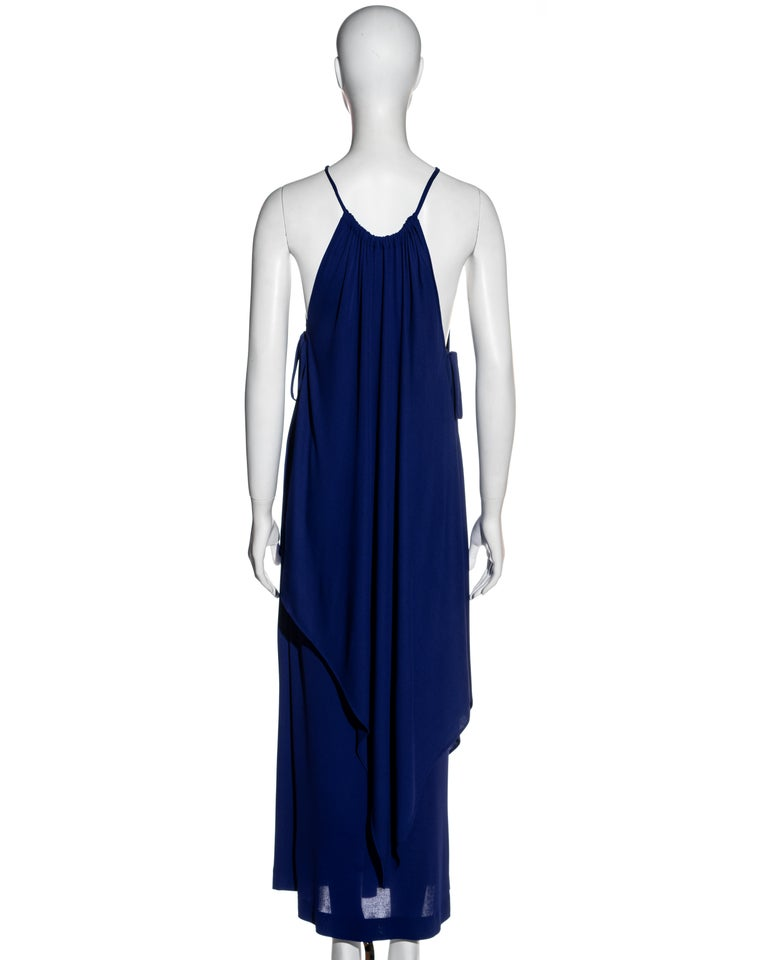 Yves Saint Laurent Egyptian blue rayon tunic and skirt set, c. 1970s For Sale 1